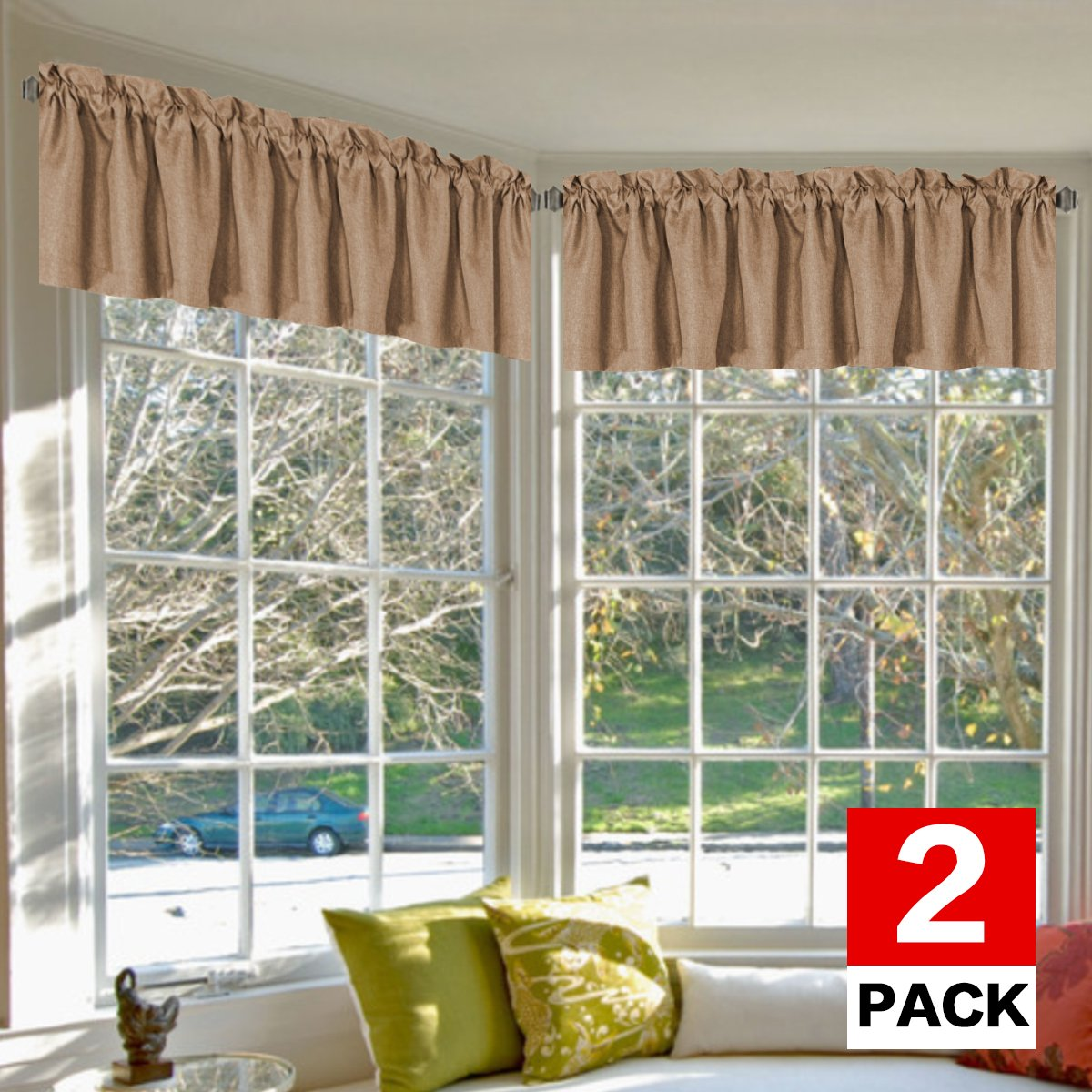 H.VERSAILTEX Blackout Valance Tiers for Bedroom - 52-inch by 18-inch Rod Pocket Rich Faux Linen Energy Saving Window Curtains and Draperies, Tan (2-Pack)