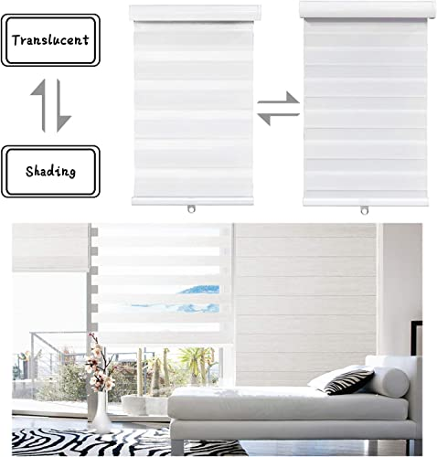 SMT- W 72 x H 72 White Zebra Roller Blinds Shades, Dual Layer, Cordless, Sheer or Privacy Light Control, Day and Night Window Drapes, Easy to Install, Striped Dove P N ET-ZB-W-72