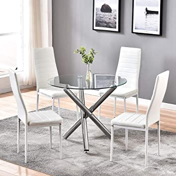 4homart Dining Table With Chairs Round Glass Table Set Modern Tempered Glass Top Table With 4 White Pu Leather Chairs Dining Room Furniture Amazon In Home Kitchen