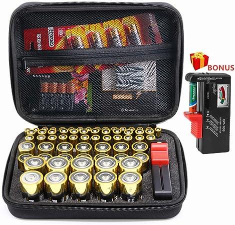 Surdar 80+ Batería Caja organizadora de batería Dura con Capacidad ...