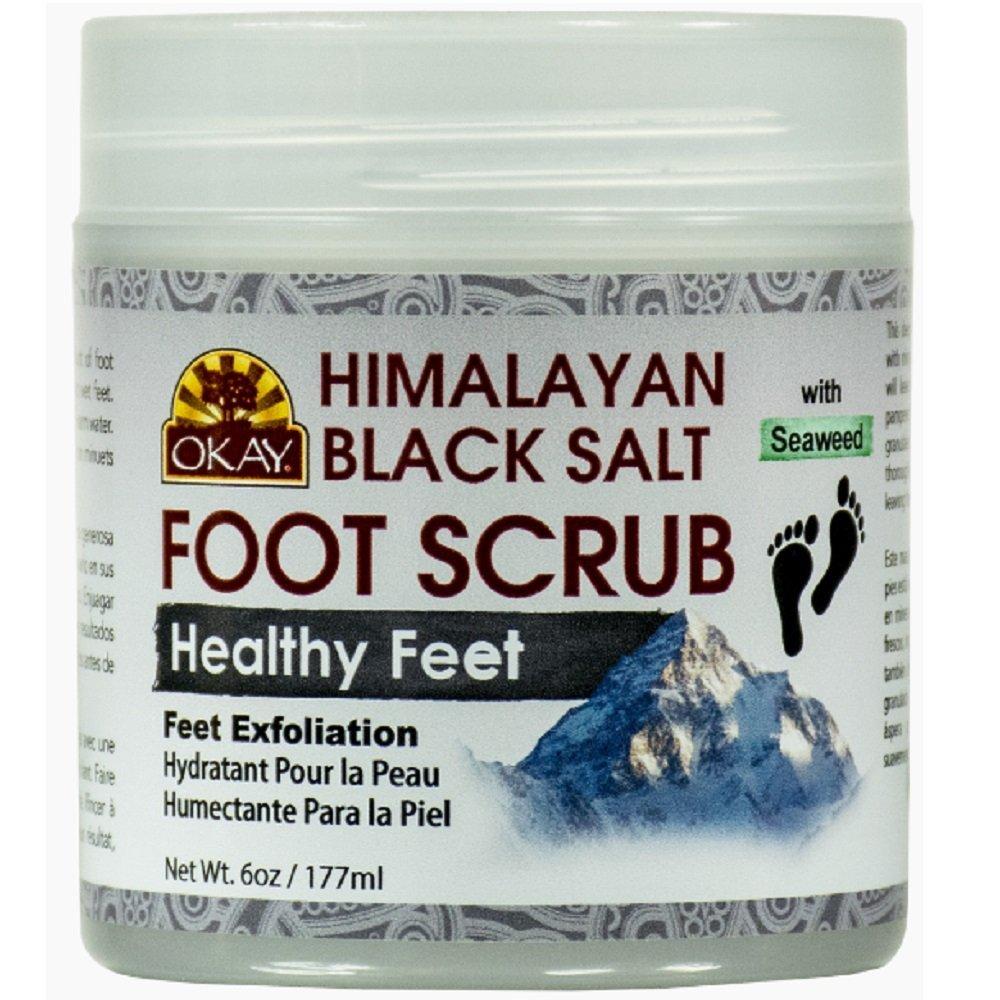 OKAY Himalayan Black Salt with Seaweed Foot Scrub, 6 Ounce by Okay