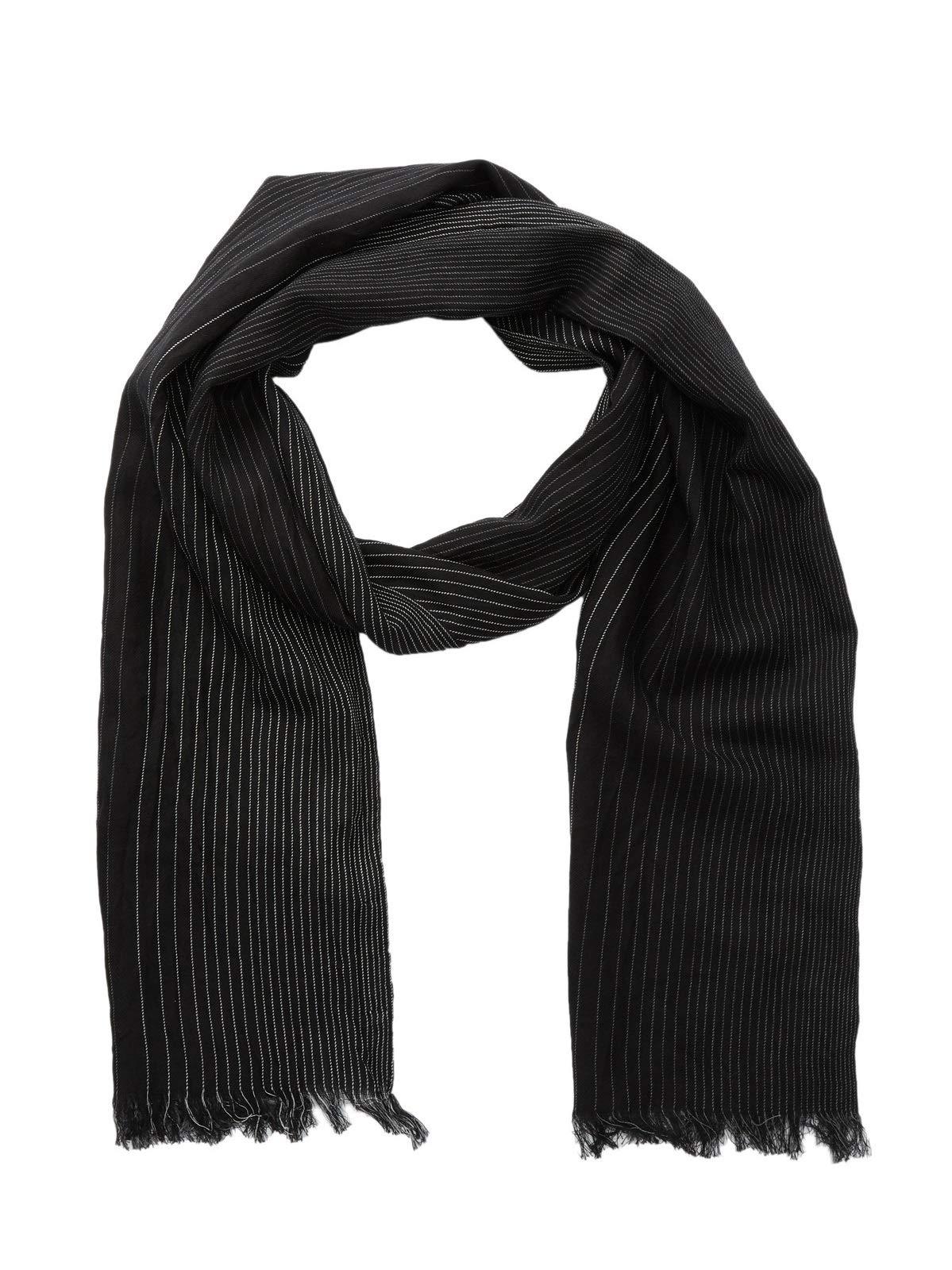 John Varvatos Men's Ombre Pinstripe Silk Fashion Fringe Scarf Black