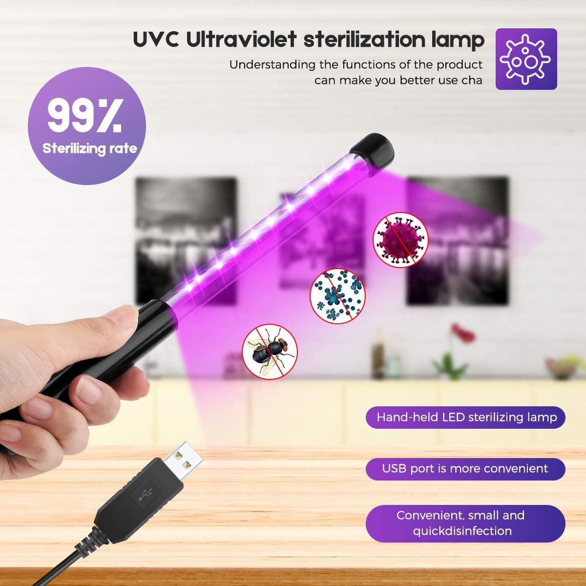 Portable UV Sterilizer Travel Wand for Hotel Household Wardrobe Toilet Car Pet Area BOPOREA UV Light Sanitizer Wand UV Lamp LED Light