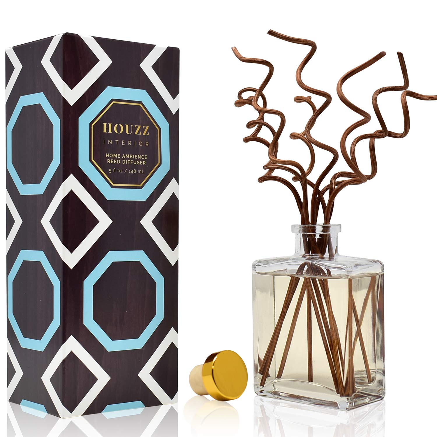 HOUZZ Interior Lemon Verbena Essential Oil Reed Diffuser - Lemon Zest and Verbena Blossoms Blended with Vetiver and Natural Lemongrass - Great Housewarming Gift Idea