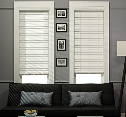 1 1 2 Inch Faux Wood Blinds.Amazon Com White 2 Inch Faux Wood Blind 19 5 19 1 2 W X