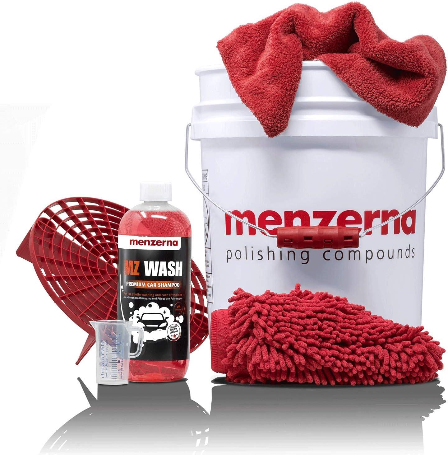 Detailmate Menzerna Autowasch Set Gritguard Eimer 5 Gal Mit Grit Guard Einsatz Und Snappy Grip Mz Wash Autoshampoo 1l Waschhandschuh Mikrofaser Poliertuch Messbecher Auto