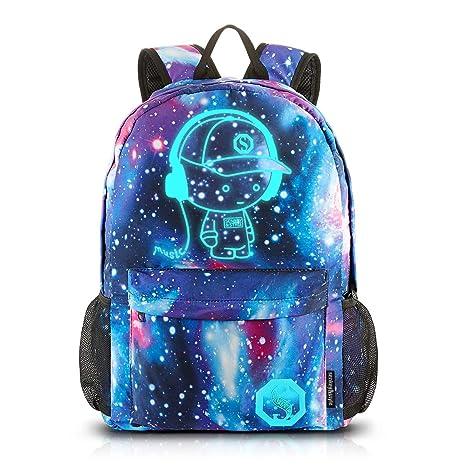2ae8891b89 Galaxy Anime luminoso Zaino - Zaino per scuola con porta di ricarica USB -  Daypack itinerante