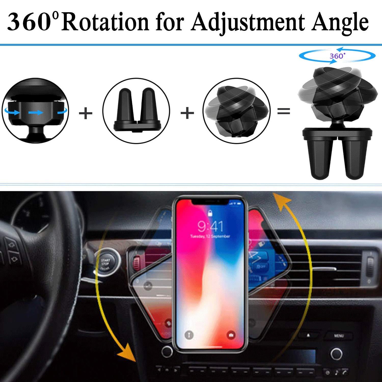 Babacom Soporte Movil Coche Magnético,360 Grados Rotación Soporte Teléfono Coche Universal Rejilla Ventilación con Doble Clip Estable para iPhone, Samsung y Otras Smartphones de 3.5 a 6.5 Pulgadas