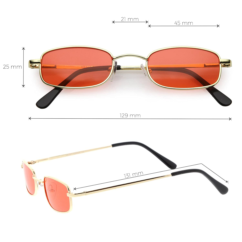 de00938ef41 Amazon.com  sunglassLA - 90 s Small Rectangle Sunglasses For Women Men Color  Tinted Lens Metal Slim Arms 45mm (Black Blue)  Clothing