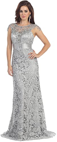 Royal Queen RQ7182 Womens Formal Cap Sleeve Demure Evening Gown