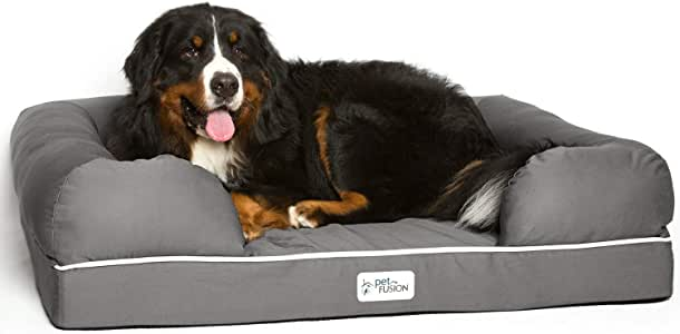 """PetFusion Extra Large Dog Bed w/Solid 4"""" Memory Foam, Waterproof Liner, YKK Premium Zippers. [Ultimate Lounge 44x34x10"""" - Sized for XL Dogs)"""
