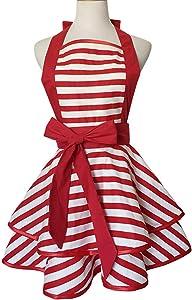 Violet Mist Cute Retro Apron Lacy Vintage Maid Polka Dot Cooking Apron Kitchen Adjustable Bib Aprons for Women Ladies (Red Stripe)