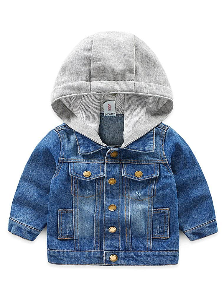 1b445c705bde3 Abolai Baby Boys  Basic Denim Jacket Hoodie Button Down Jeans Jacket ...