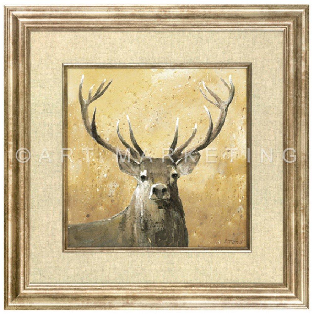 Framed Stag Print Wall Art On Linen Highland Stag by Adelene ...