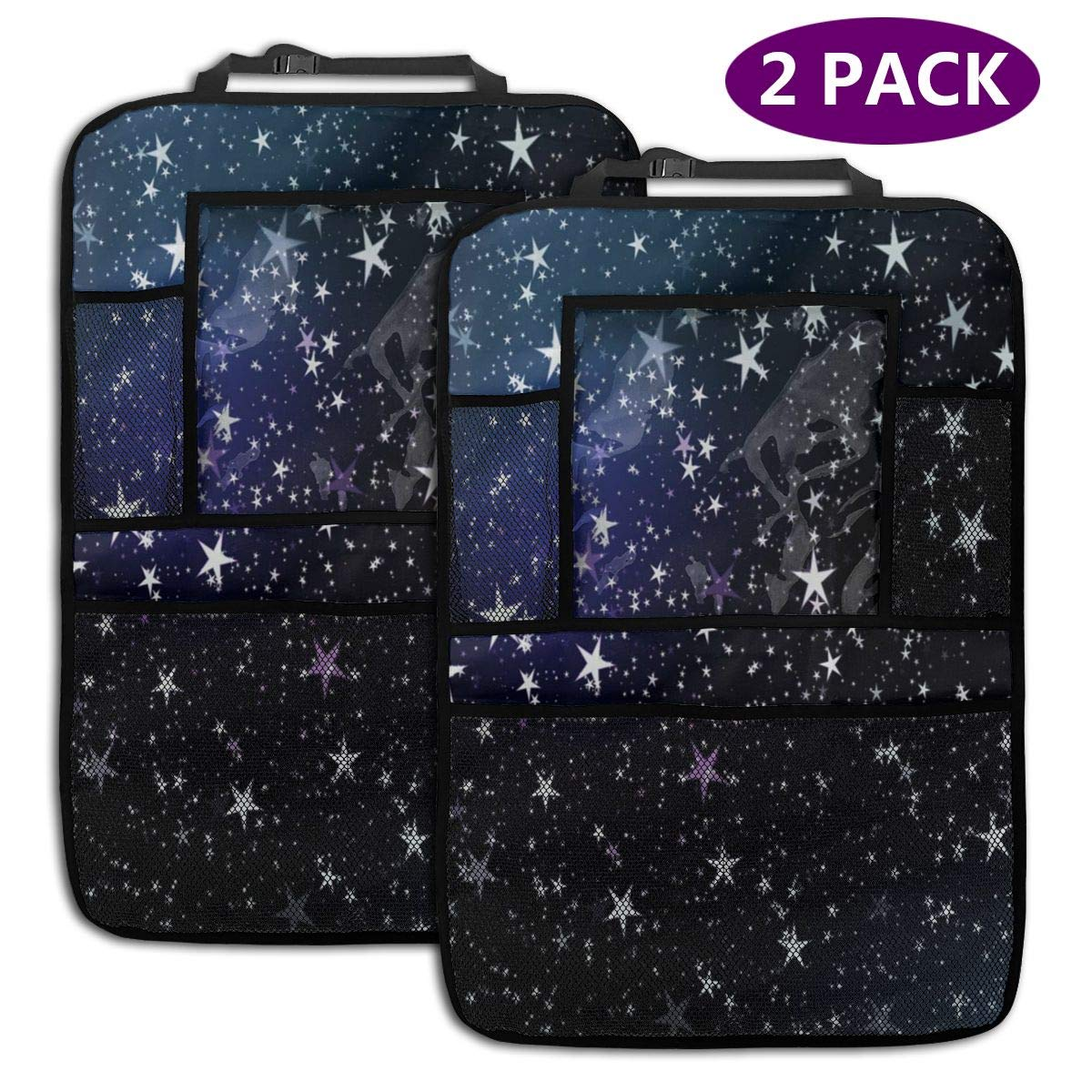 QF6FEICHAN Blue Sky and Star Car Seat Back Protectors with Storage Pockets Kick Mats Accessories for Kids and Toddlers by QF6FEICHAN