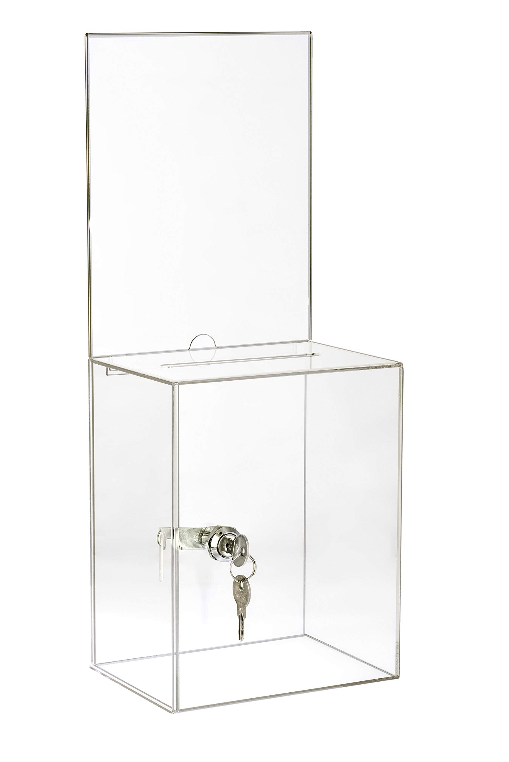 AdirOffice Tall Acrylic Suggestion/Donation Box - Wall Mountable Plastic Comments/Ballot Box w/Safety Lock for Cash, Suggestions & Employee/Customer Comment Cards (Clear) by AdirOffice