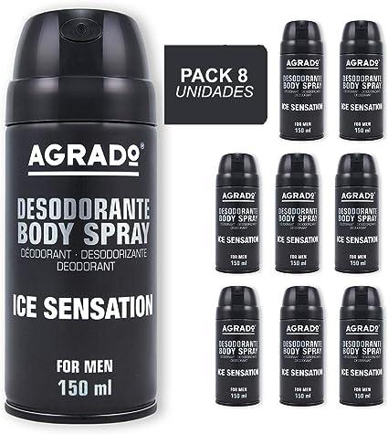 Agrado, Desodorante Spray Ice Sensation, Hombre 150 ml, Pack de 8 ...