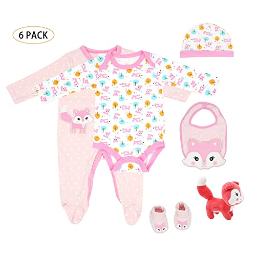 fdf64f01b4ee Baby Layette Set for Newborn, Infant - Girls Boys Footed Pajama,Bodysuit,Bib