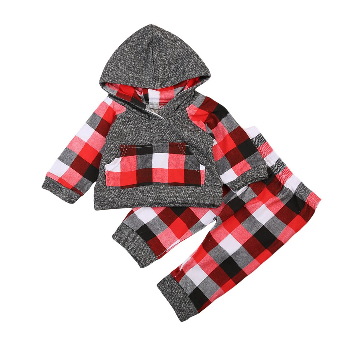 Newborn Baby Boys 2pcs Plaid Warm Outfit Long Sleeve Hoodie with Pocket+Long Pants