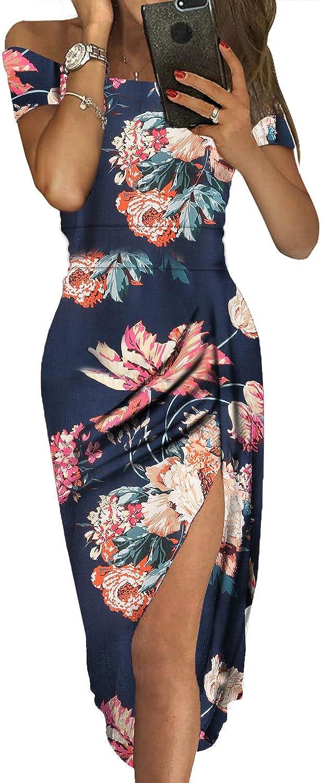 Long Party Women/'s Casual Beach Sundress Evening Cocktail Dress Short Sleeve