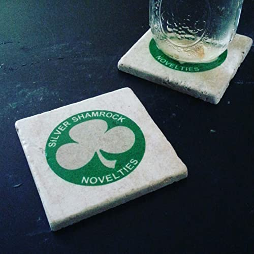 halloween 3 season of the witch silver shamrock tumbled marble coaster set of 2