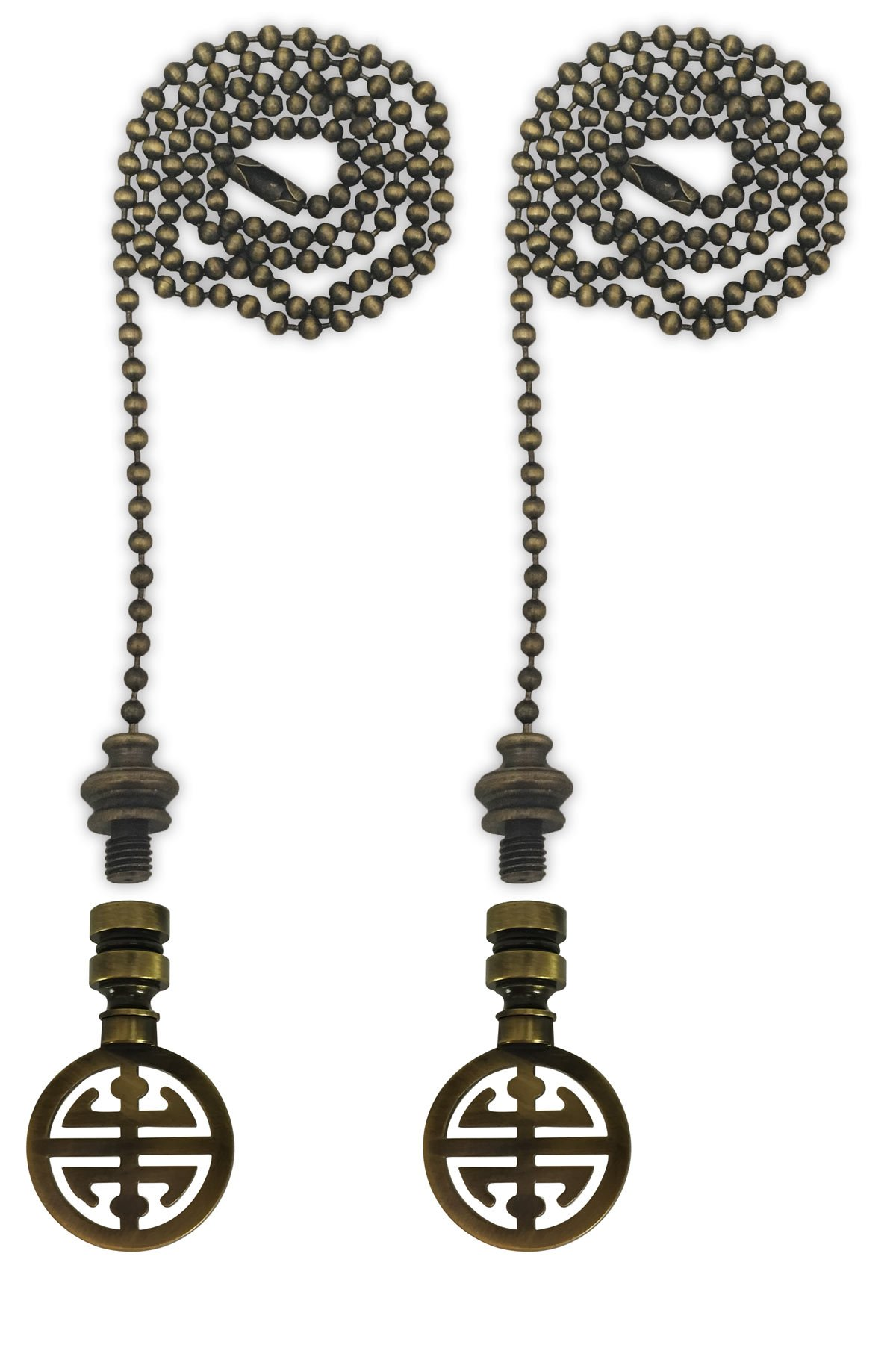 Royal Designs Fan Pull Chain with Oriental Happiness Symbol Finial - Antique Brass - Set of 2