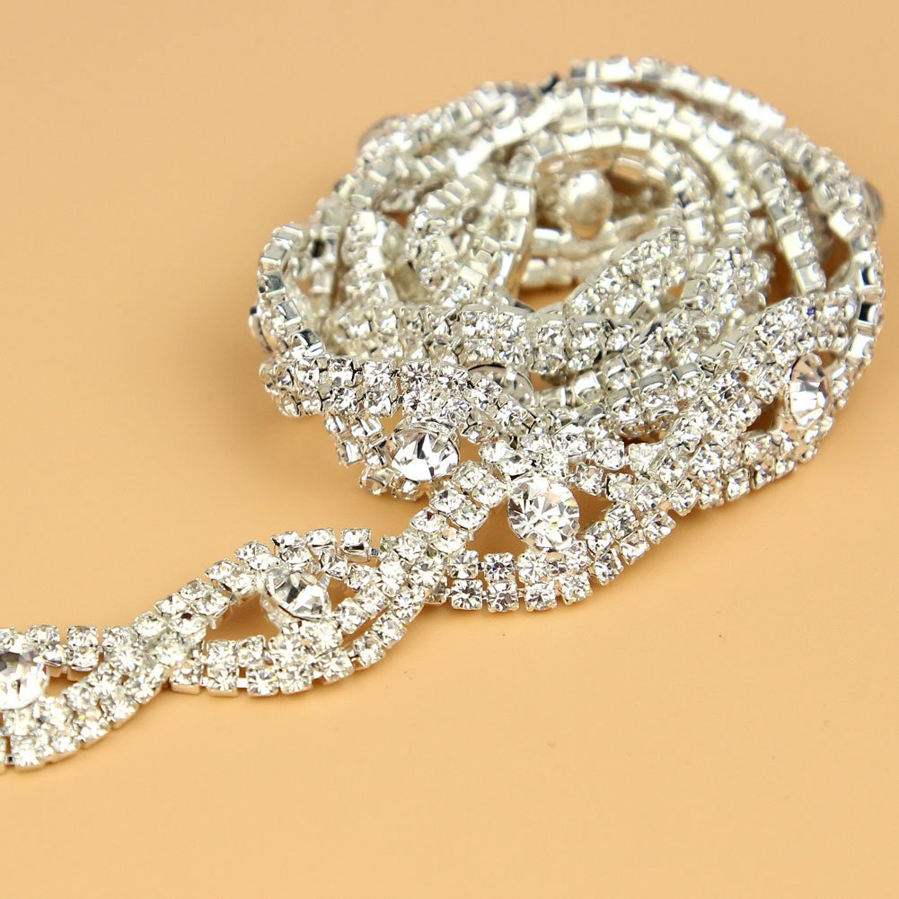 De.De. 1 Yard Elegant Crystal Clear Glass Rhinestone Applique Bridal Trim / Chain Silver