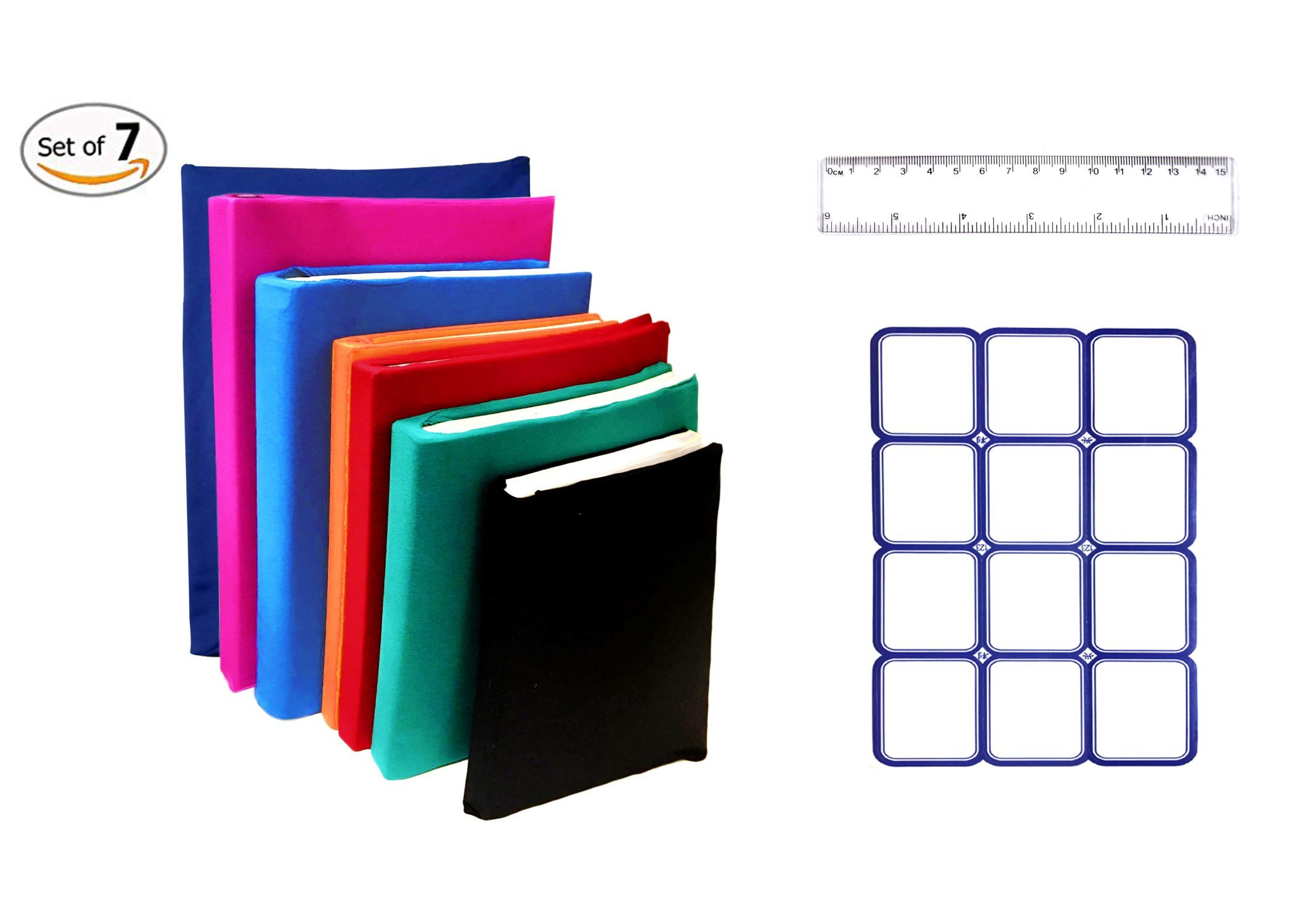 Stretchable Jumbo Book Covers Set of 7 Individual Colors Book Suits fits Hardcover Textbooks up To 9.5'' X 14'' Durable Washable Reusable Extras Labels and Ruler