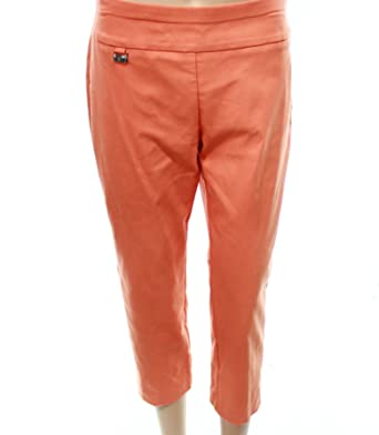 a55adbd343d5a Alfani Tummy-Control Pull-On Capri Pants (Oranges, 12) at Amazon ...
