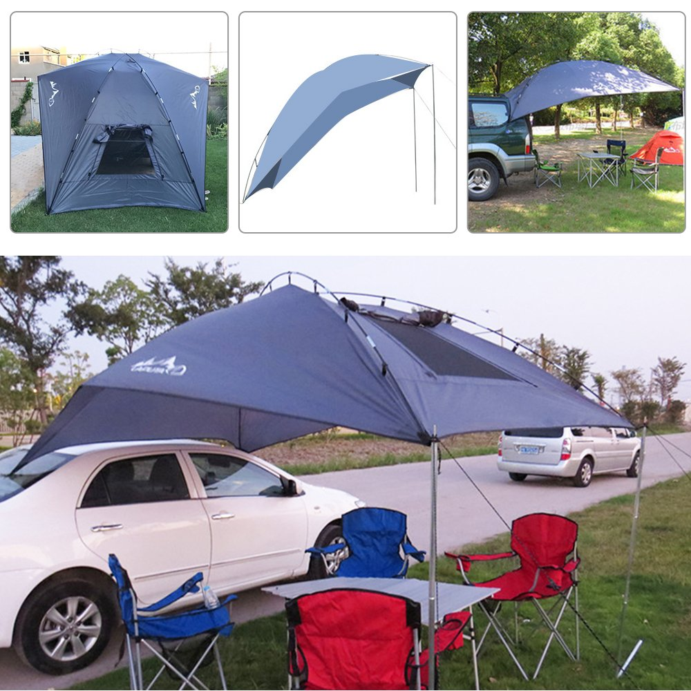 Teardrop Trailer Awning Portable Car SUV Awning Tent Sun Shelter Canopy for Camping