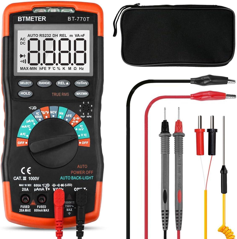 Multímetro Digital Profesional 6000 Cuentas BT-770T Rango Automático Multímetro Digital True RMS Multi Tester DC/AC Voltaje,Actual,Resistencia,Capacidad,Frecuencia,Temperatura con NCV+Retroiluminada