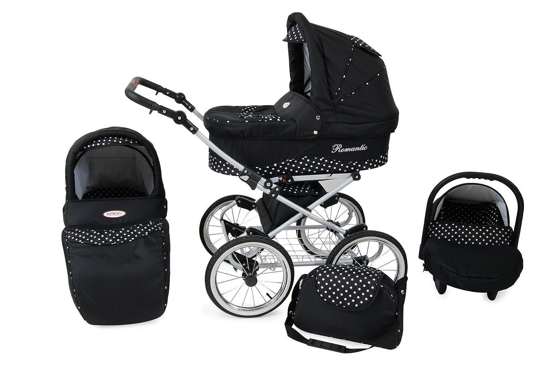 Solenzo - Cochecito 3 en 1 Retro - grandes ruedas - Portabebés y asiento Cosy Auto - Paraguas Offerte negro negro: Amazon.es: Bebé