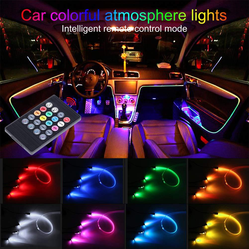 1 Set TABEN Auto Decorazione Interna Atmosfera Luce LED Interni Auto Kit di Illuminazione con 8 Colori Impermeabile Interni Atmosfera luci al Neon Striscia per Auto 1 W DC12 V
