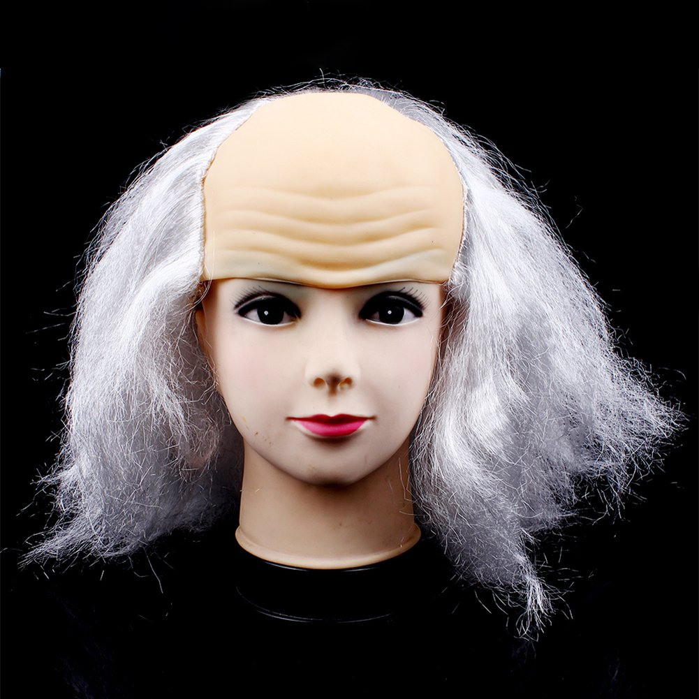 Funny Hair Wigs Halloween Bald Old Man Woman Wig Head Mask Costume Party Novelty Mask Masquerade Supplies Bald Wig by IBLUELOVER