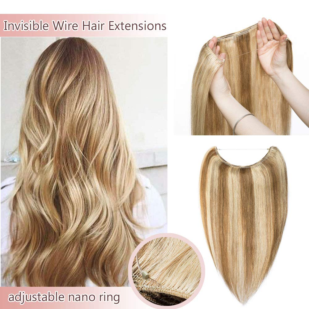 Hidden Invisible Crown Human Hair Extensions One Piece Secret Miracle Wire In Hairpiece With Transparent Fish Line Headband No Clips No Tape #12P613 Golden Brown&Bleach Blonde 16''60g by Rich Choices
