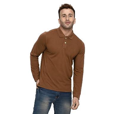 97a085c2893 CHKOKKO Cotton Polo Neck Full Sleeves Plain T Shirt for Men Golden Brown  Size S