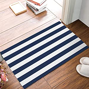 SIMIGREE 18 x 30 Inch Navy Blue and White Stripe Door Mats Indoor Kitchen Floor Bathroom Entrance Rug Mat Carpets Home Decor Absorbent Bath Doormats Rubber Non Slip
