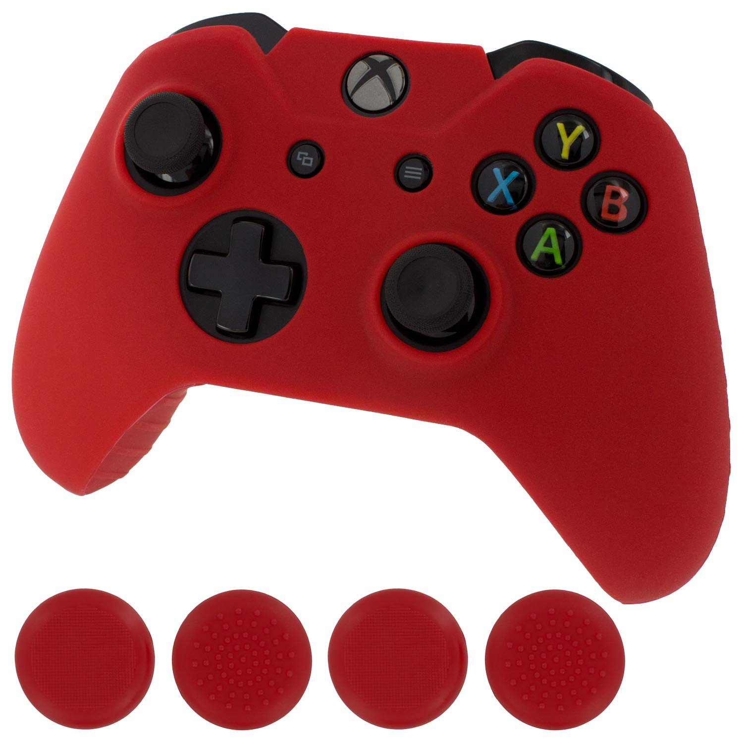 Assecure red protect & grip pack soft silicone skin grip protective cover rubber bumper case with ribbed handle grip & TPU analogue thumb grip stick caps for Microsoft Xbox One controller by Assecure