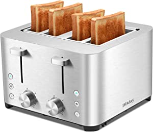 BBday 4 Slice Toasters, with 6 Bread Shade Settings, 4 Extra Wide Slots, Defrost,Bagel and Cancel Function, Removable Crumb Tray, Stainless Steel Toaster,1500W