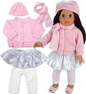 Sophia's 5 Pc Set Winter Doll Clothes Set, fits 18 Inch Dolls Like American Doll   Perfect Set Pink & Sparkly  Doll Sold Separately
