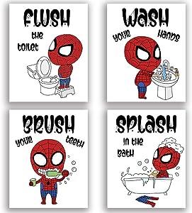 "Funny Wash Splash Brush Flush Bathroom Art Print Set of 4 (8""X10""), Humor Spider Boys Man Illustration Toilet Rules Wall Poster for Son Nephew Washroom Bathroom Decor, No Frame"