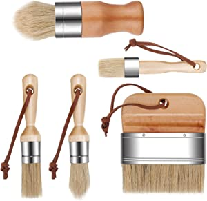 5 Pieces Chalk and Wax Paint Brushes Natural Bristles Wooden Handle DIY Painting and Waxing Brushes for Art Craft Wood Furniture Home Decoration Waxing Painting Projects (Natural)