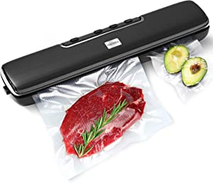 Vacuum Sealer Machine, FOCHEA Automatic Food Saver Storage Sealer Machine with Precut Bags and Jar Attachment for Wet/Dry Food Preservation and Sous-Vide & Meal