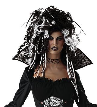 Rizos blancos bruja negro peluca de las señoras horror Halloween carnaval