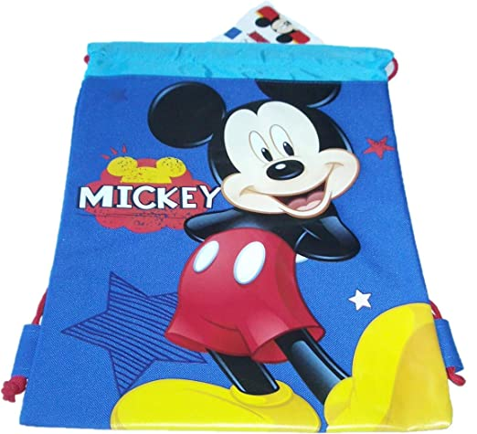 fb263629c54 Amazon.com  Drawstring Backpack Gym School Bag Authentic Licensed Disney  PIXAR Nickelodeon Cartoon Character (Mickey Mouse)  Sports   Outdoors
