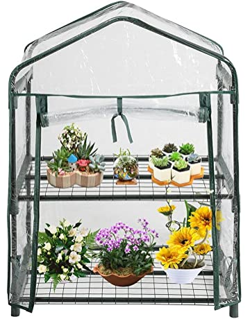Invernadero de 2 niveles, casa de jardín portátil Plantas al aire libre de interior Cobertizo