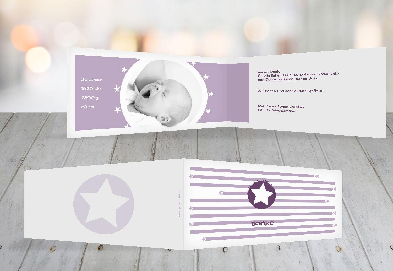 Kartenparadies Danksagung für Geburt Baby Dankeskarte a new star, hochwertige Danksagungskarte Baby inklusive Umschläge   100 Karten - (Format  215x105 mm) Farbe  Hellbraun B01N7XSJ3E | Modisch  | Economy  | New Product 2019