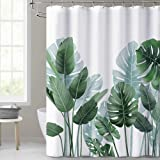KGORGE Shower Curtains for Bathroom - Tropical Leaves Plant on White Background Odorless Curtain for Bathroom Showers and Bat