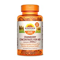 Cranberry Concentrate for Her by Sundown, Dietary Supplement, Supports Urinary Tract Function and Immune Health, 8400mg Plus 1000IU Vitamin D, 150 Softgels