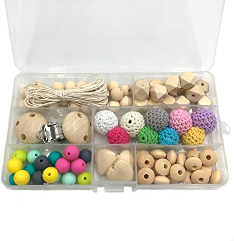 DIY Safety Wooden Baby pacifier chain Crochet Round beads Baby pacifier Clips